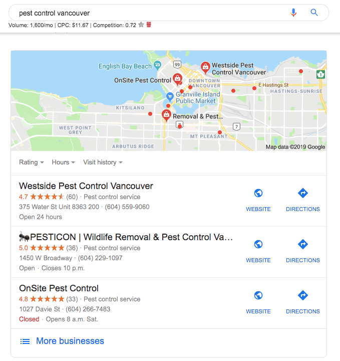Google Local Search Result Vancouver - No-Nonsense Marketing
