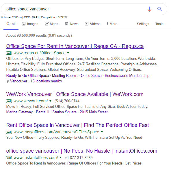 Office space vancouver - Google ads