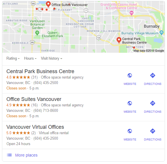 Office space vancouver - Local Google 3 pack
