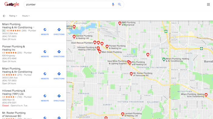 Plumber vancouver Google Search results