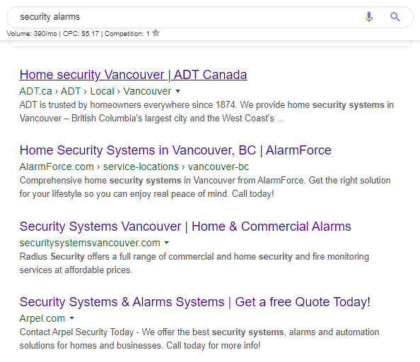 Security Alarms Google Search - Organic Result