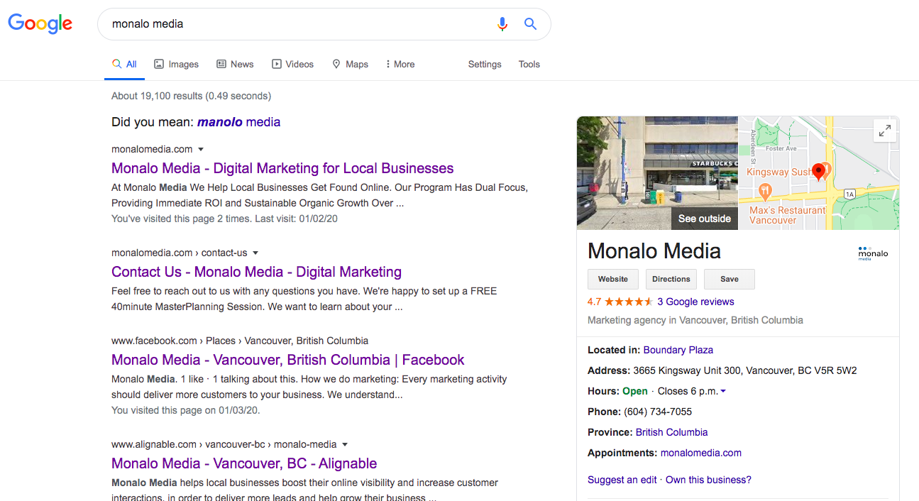 Google My Business Profile for Monalo Media Vancouver